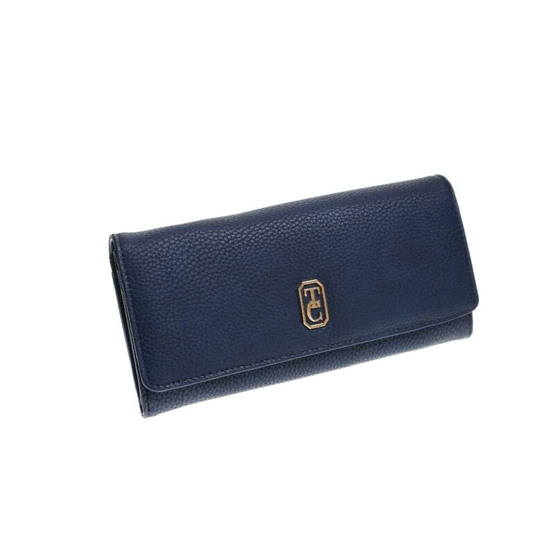 Tipperary Crystal Large Navy Ladies Wallet With Gold Hardware