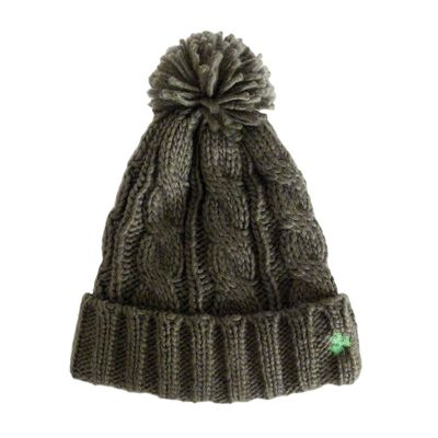 Aran Knit Style Bobble Beanie Hat with Irish Cable Stitch  Olive Green colour