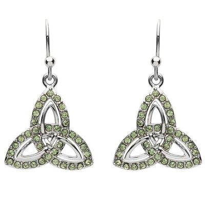 Platinum Plated Trinity Knot Drop Earrings 2 Row With Peridot Swarovski Crystals