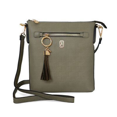 Tipperary Crystal The Chelsea Cross Body Pouch, Olive Colour