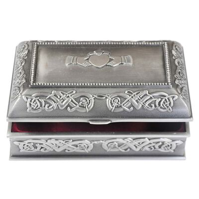 Mullingar Pewter Jewelry Box With Celtic Pattern - Medium Size