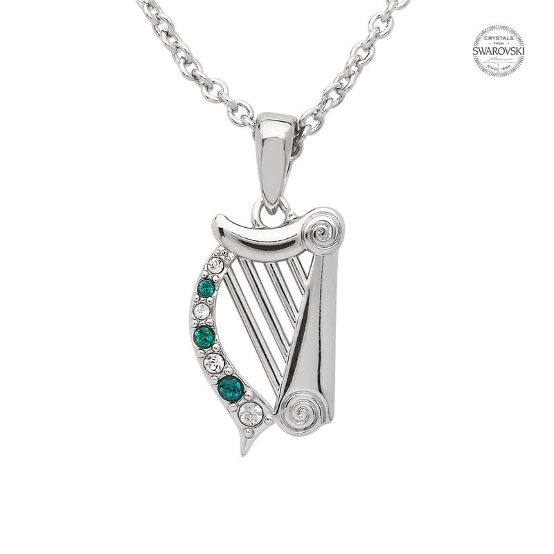 Platinum Plated Harp Pendant With Clear And Green Swarovski Crystals