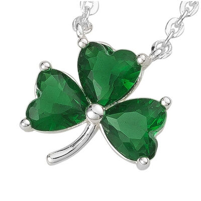 Silver Plated Shamrock Pendant With 3 Emerald Cubic Zirconia Stones
