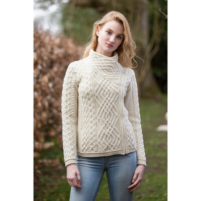 100% Merino Wool Cable Knit Cardigan With Side Zip  Natural Colour