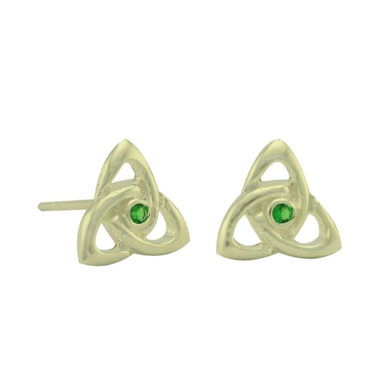 Sterling Silver Trinity Knot Stud Earrings With Cubic Zirconia Stones