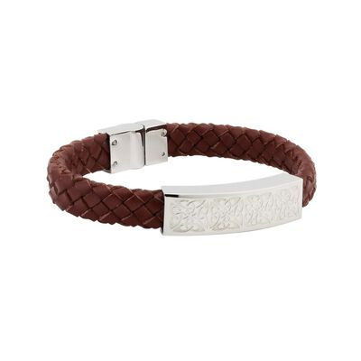 Mens Brown Leather Bracelet Wristband With Steel Celtic Knot Design