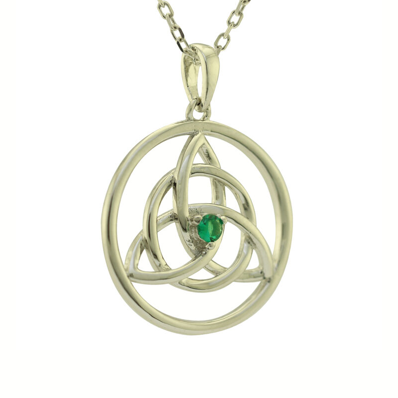Hallmarked Sterling Silver Trinity Knot In Circle Pendant With Green Stone