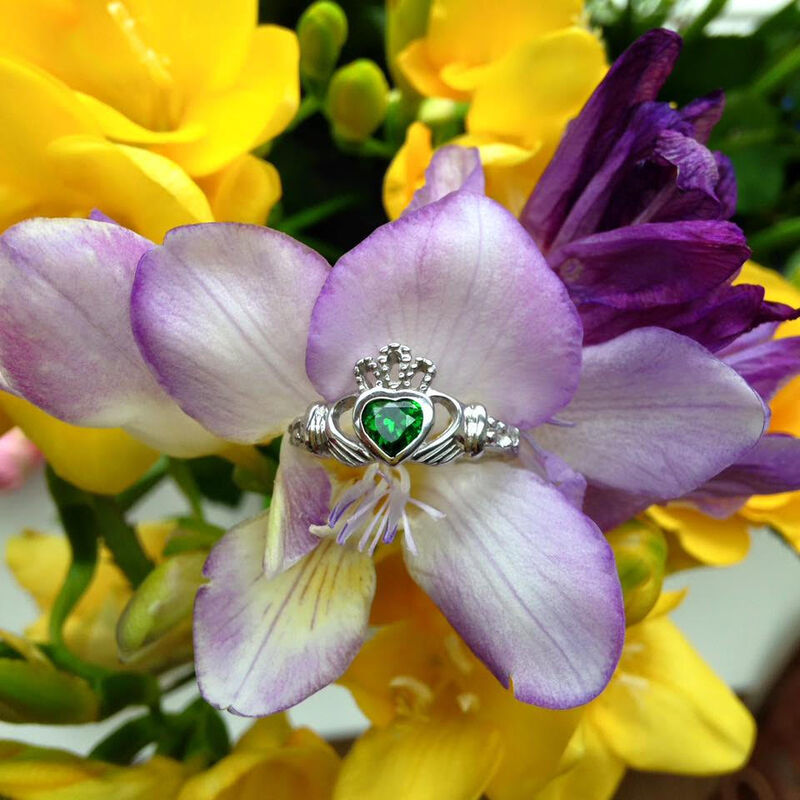 Hallmarked Sterling Silver Claddagh Birthstone Ring May With Green Cubic Zirconia Stone