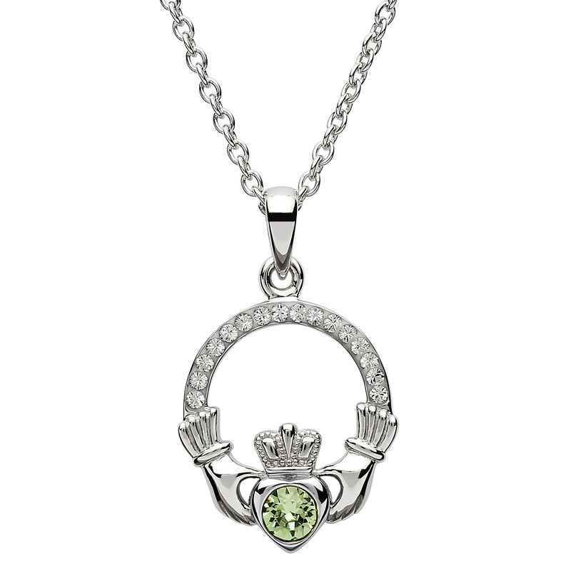 Platinum Plated Claddagh August Birthstone Pendant With Swarovski Crystals