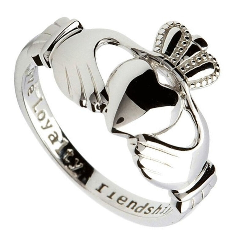 Hallmarked Sterling Silver Claddagh Ring With Love  Loyalty and Friendship Engraved Text