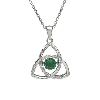 Hallmarked Sterling Silver May Dancing Birthstone With Emerald Cubic Zirconia