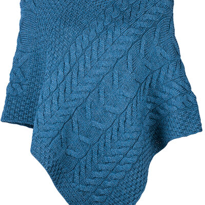 Super Soft Merino Wool Triangular Aran Cable Knit Design Poncho, Blue Colour