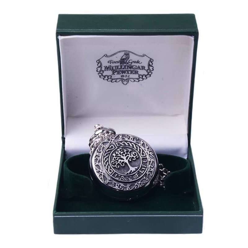 Mullingar Pewter Pocket Watch With Tree Of Life Design And Celtic Border