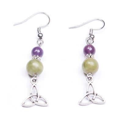 Amethyst and Connemara Marble Trinity Knot Earrings
