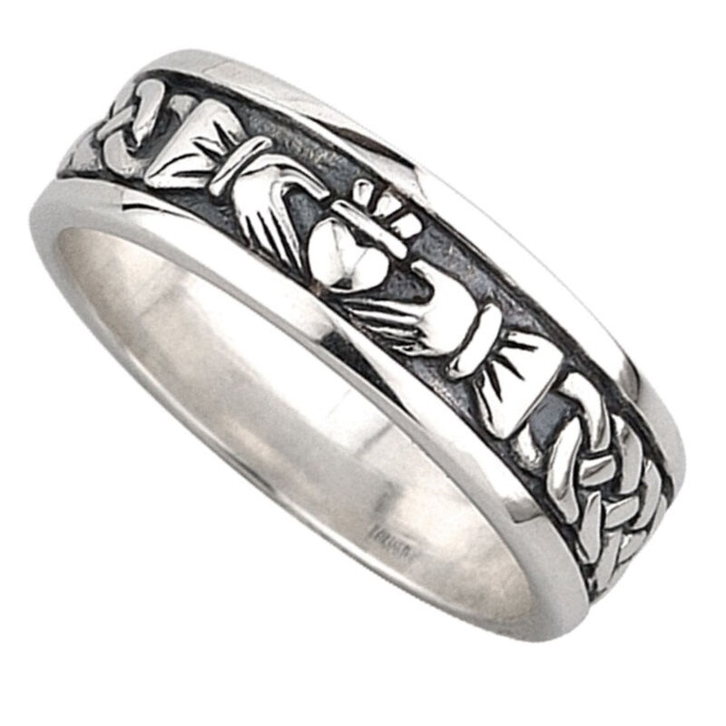 Hallmarked Sterling Silver Oxidised Claddagh Ring