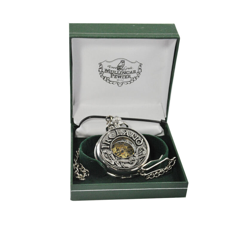 Mullingar Pewter Open Faced Pocket Watch With Kells And Ireland Design