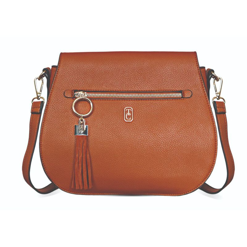 Tipperary Crystal Tan Saddle Style Satchel With Gold Hardware