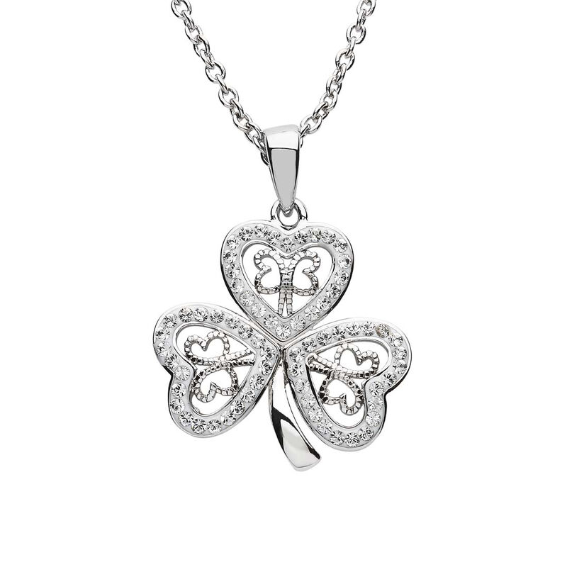Platinum Plated Filigree Shamrock Pendant With Clear Swarovski Crystals