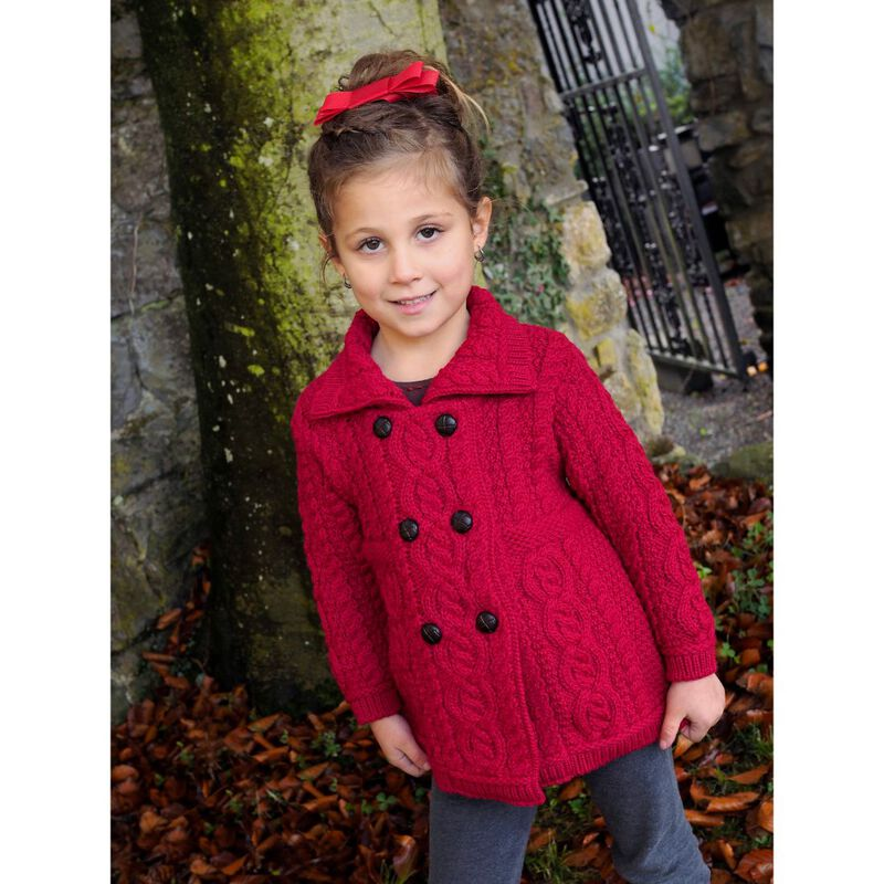 100% Merino Wool Girls Double Breasted Coat  Garnet Red Colour