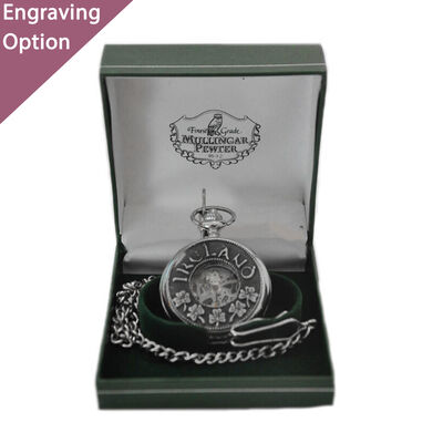 Mullingar Pewter Open Face Pocket Watch With Shamrock and Ireland Design
