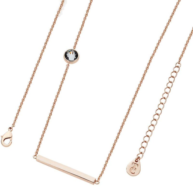 Tipperary Crystal Rose Gold Cable Chain Necklace With Bar and Single Charcoal CZ