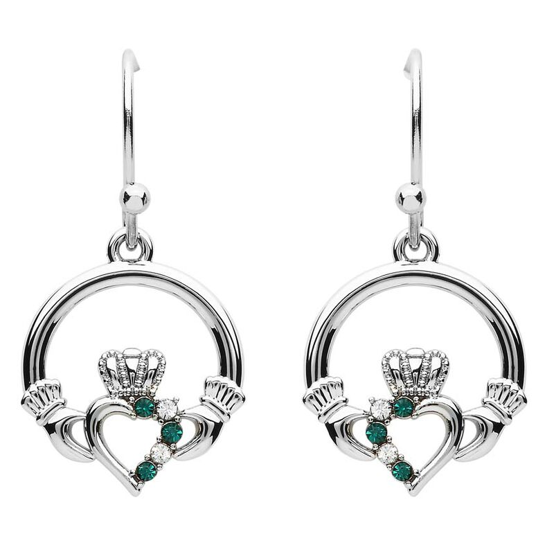 Platinum Plated Claddagh Drop Earrings With Clear And Peridot Swarovski Crystals