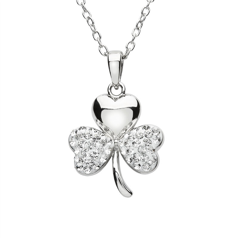 Platinum Plated Shamrock Pendant With Clear Swarovski Crystals On Two Leafs