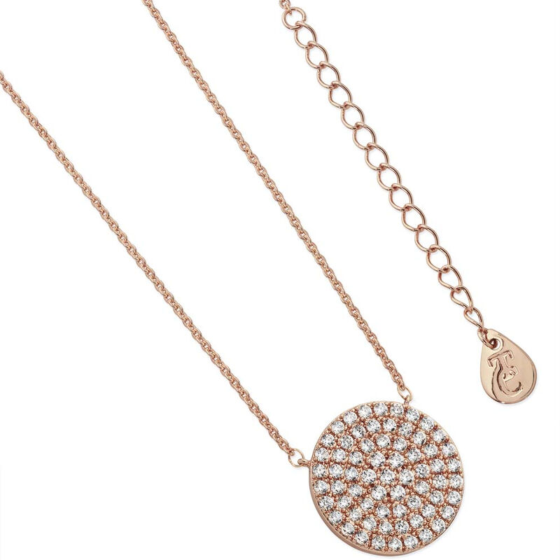 Tipperary Crystal Pave Full Moon Pendant Rose Gold Plated  Comes With Gift Box