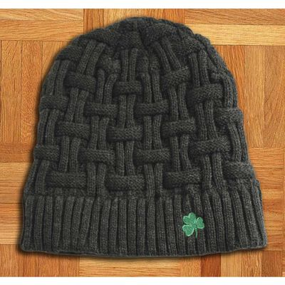Acrylic Basket Weave Beanie Hat Dark Grey Colour With Green Shamrock