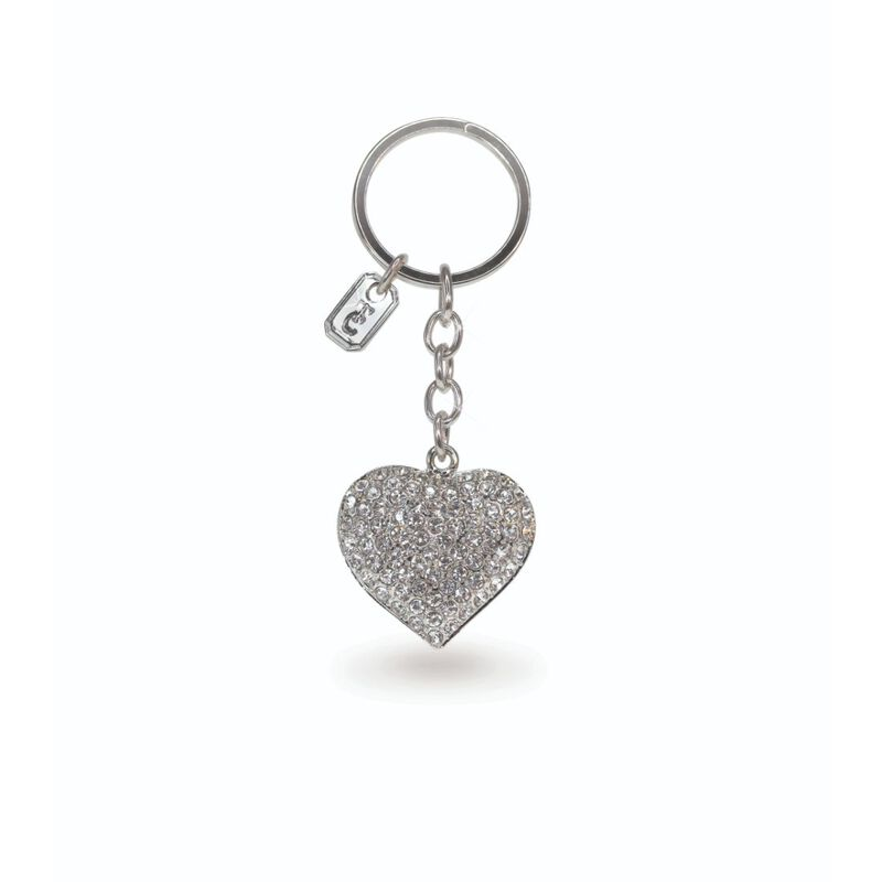 Tipperary Crystal Collection Classic Sparkly Silver Heart Keychain