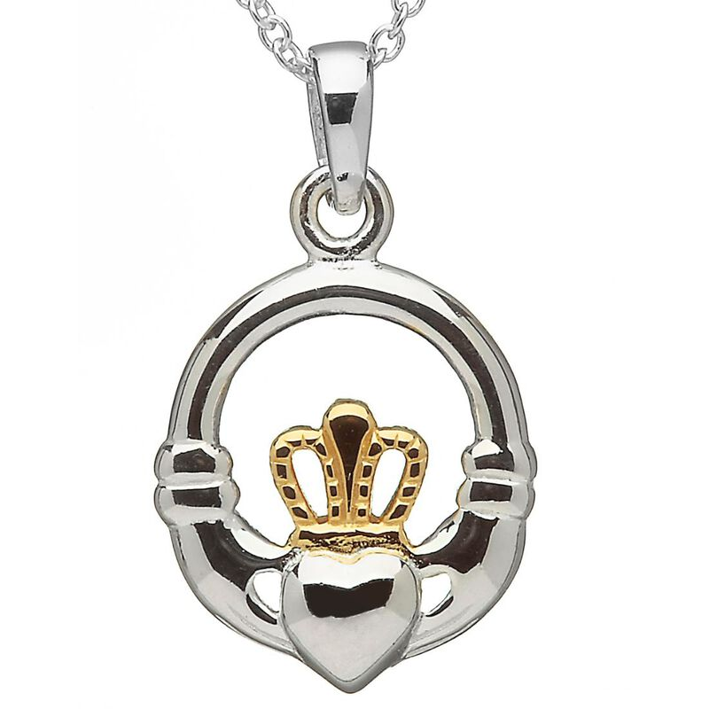 Hallmarked Sterling Silver and Rose Gold Pendant With Claddagh Design