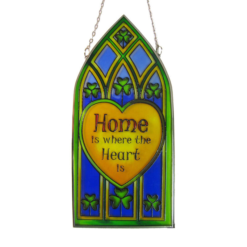 20cm Stained Glass Hanging Decoration with Shamrock and Home is Where... Design