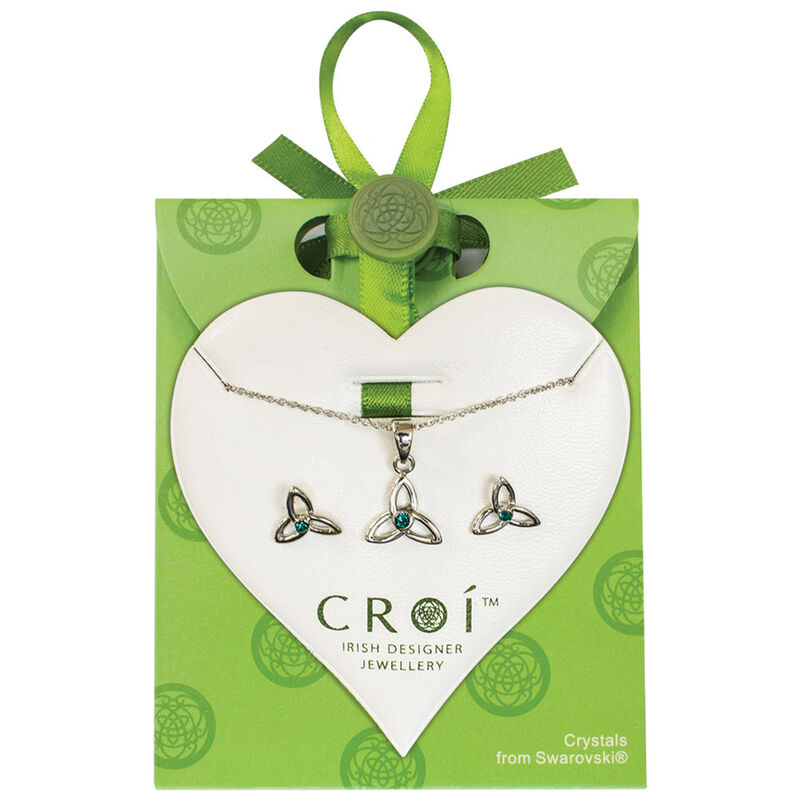 Croi Trinity Necklace and Earrings Set With Swarovski Crystal Stone Design