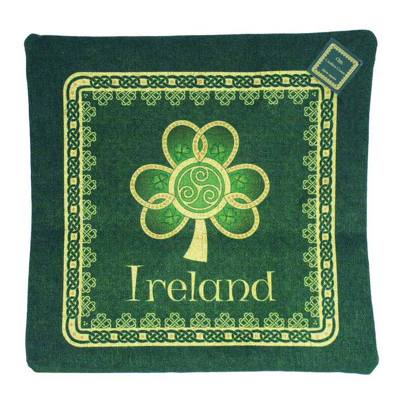 Shamrock Spiral Ireland Cushion Cover With A Green And Yellow Celtic Design