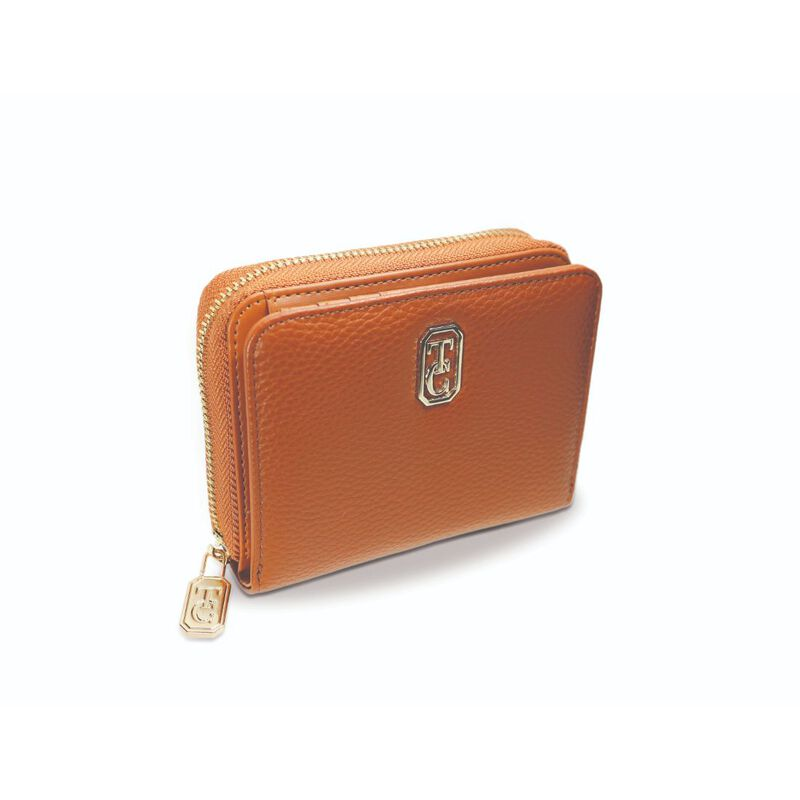Tipperary Crystal Small Tan Ladies Zipped Wallet With Gold Hardware