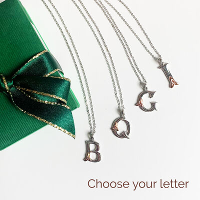 Hallmarked Sterling Silver Alphabet Pendant With Rose Gold Trinity Knot Design
