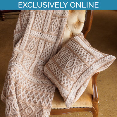 West End Knitwear Sand Colour Two-Tone Aran Plated Throw 100% Merino Wool