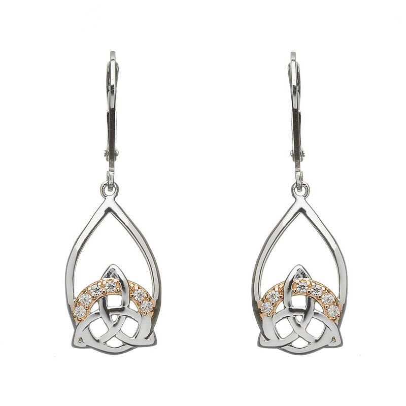 Hallmarked Sterling Silver Rose Gold Cubic Zirconia Trinity Earrings