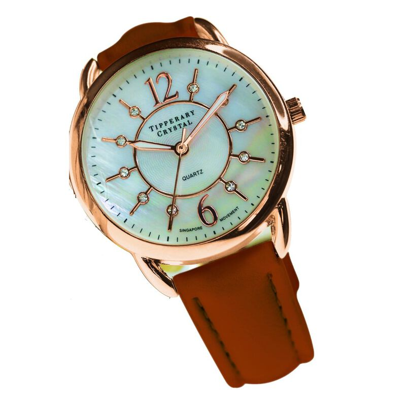 Tipperary Crystal Infinity Rose Gold Ladies Watch With Brown Strap