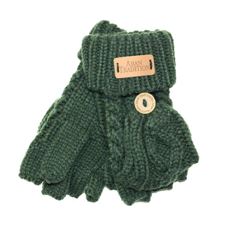 Kids Aran Knitted Cable Pattern Foldover Mittens  Dark Green Colour