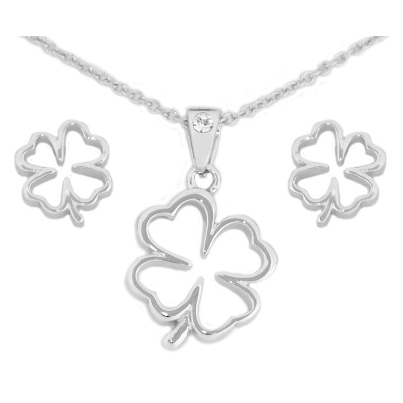 Swarovski Crystal Croi  Clover Necklace and Earrings Set With Ribbon Design