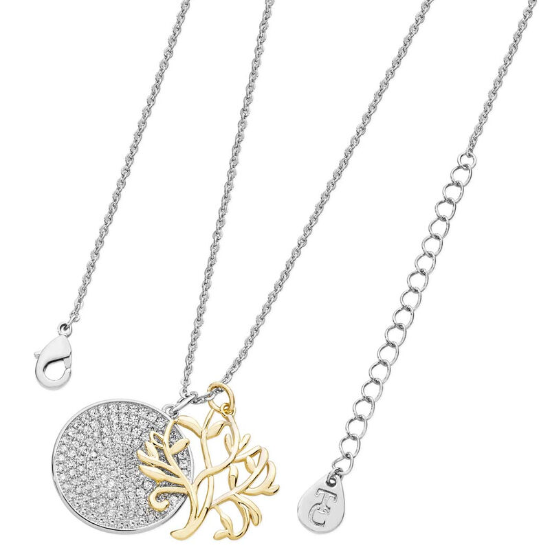 Tipperary Crystal Tree Of Life With Round Pave Disc Silver Plated Pendant
