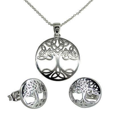 Swarovski Crystal Croi  Tree Of Life Necklace and Earrings Set With Silver Detail