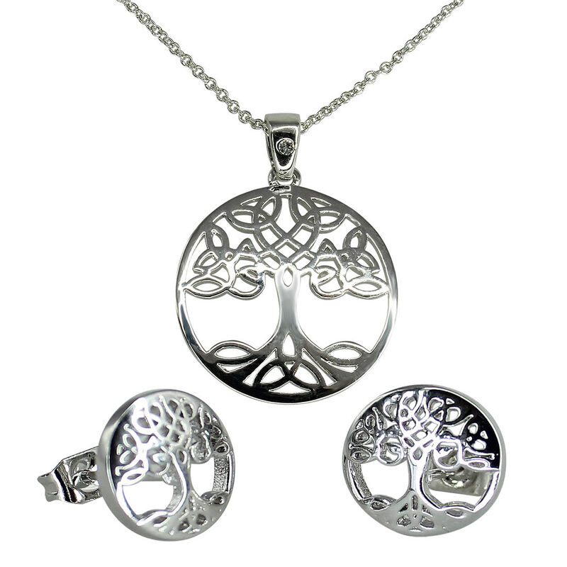 Swarovski Crystal Croí  Tree Of Life Necklace and Earrings Set With Silver Detail