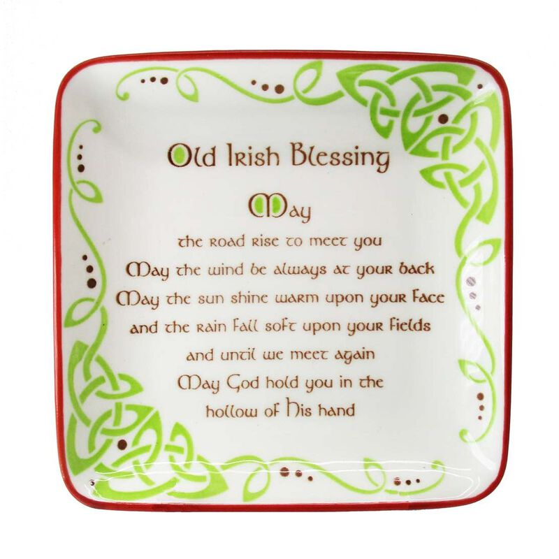 Celtic Designed Shallow Square Bowl Dish With Old Irish Blessing