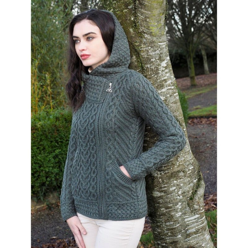 100% Merino Wool Side Zip Hood Cardigan With Heart Design  Thundra Green Colour