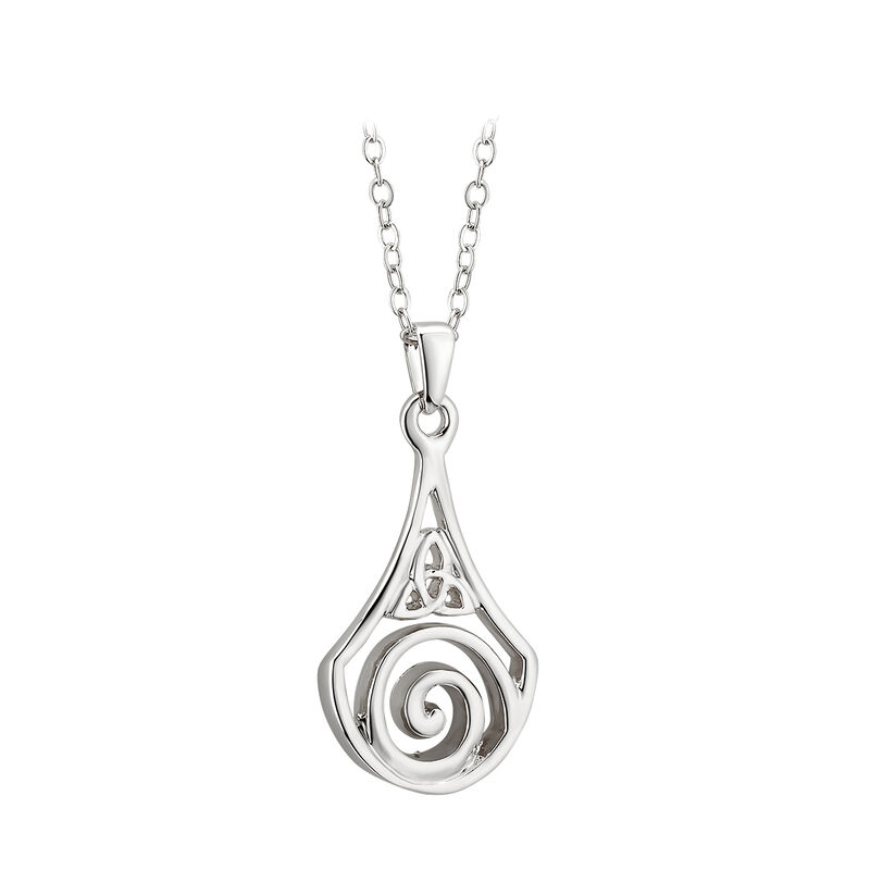 Rhodium Plated Pendant With Celtic Swirl And Trinity Knot Detail