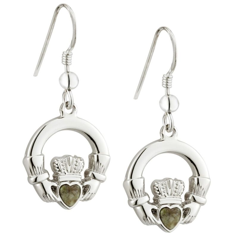 Rhodium Plated Connemara Marble Claddagh Designed Drop Earrings