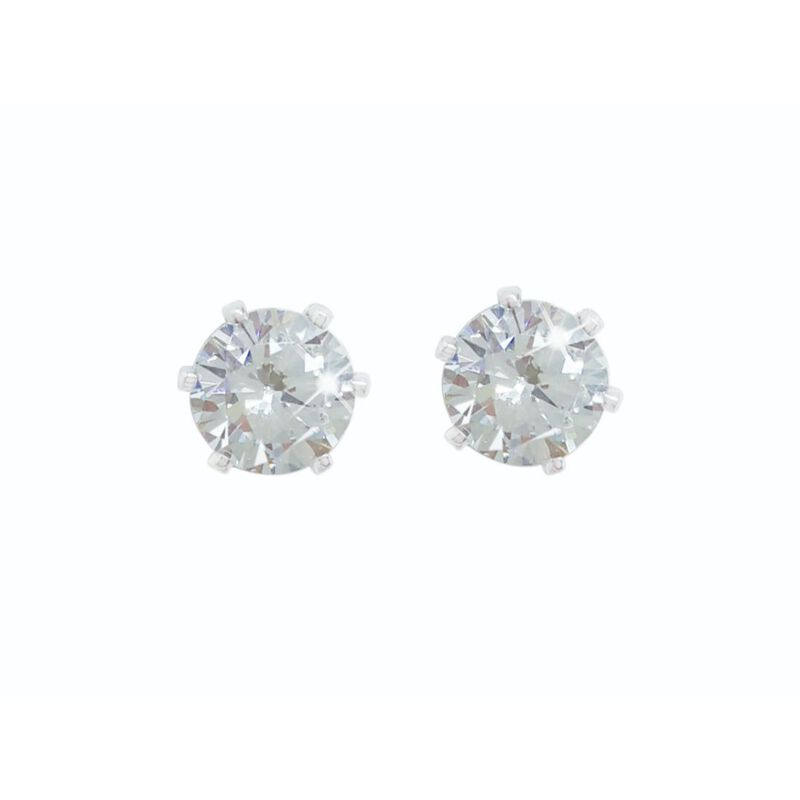 Tipperary Crystal Silver Stud Earrings Set With 4Mm Clear Stones