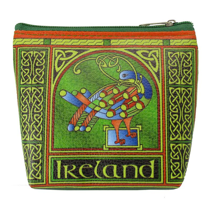 Celtic Peacock Ireland Clip Purse With A Coloured Trinity Irish Design